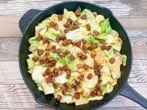 stir fry cabbage in cast iron skillet