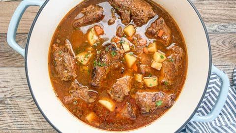 turkey soup in dutch oven