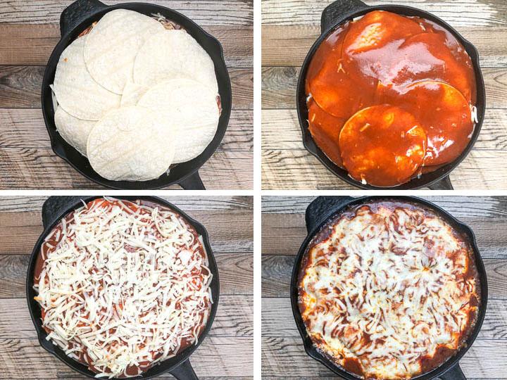 step 1 to layering chicken enchilada casserole