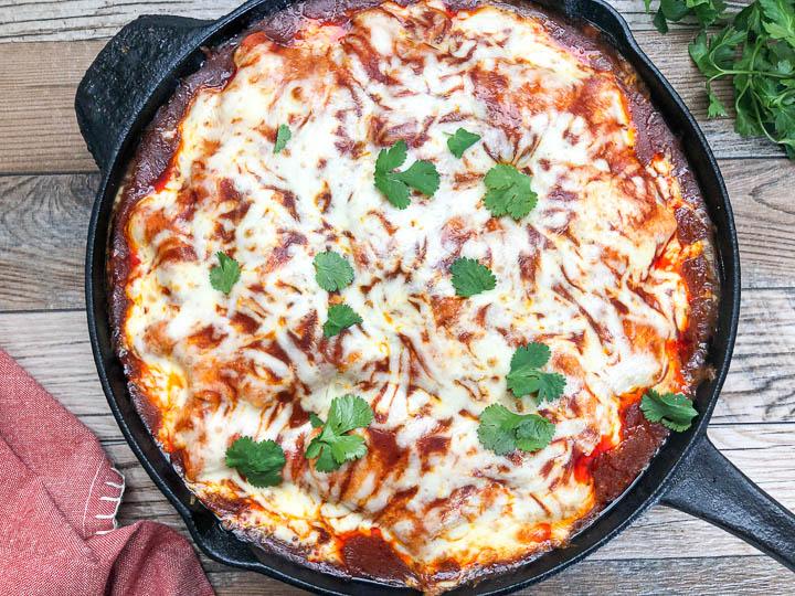 chicken enchilada in cast iron skillet