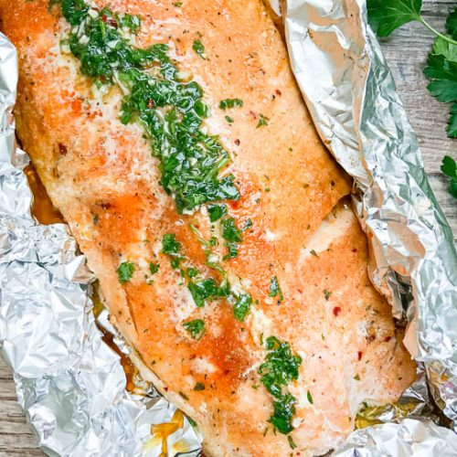 grilled salmon on top of foil