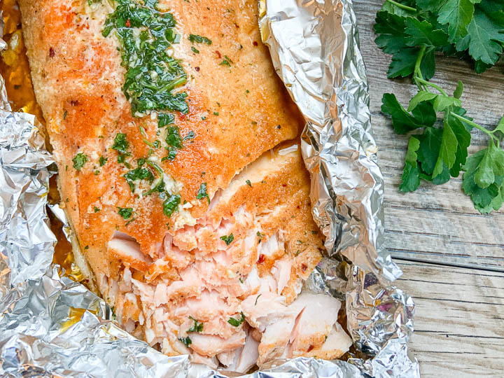 perfectly grilled salmon in foil