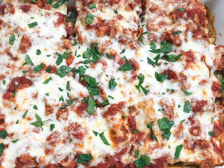 close up image of lasagna roll ups