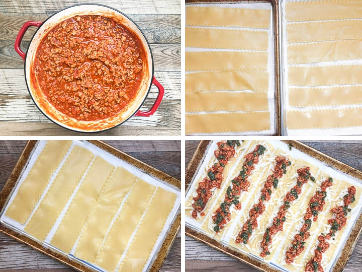 step by steps photos on how to make lasagna roll up steps 1-4