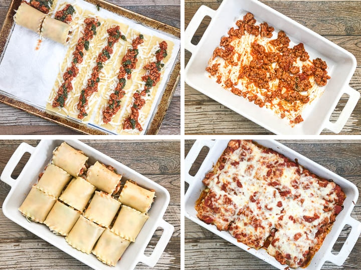 step by step photos on how to make lasagna roll up steps 5-8