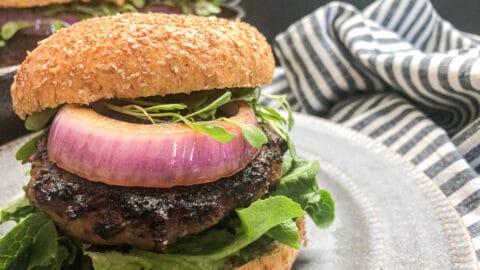 close up of turkey burger on brioche bun