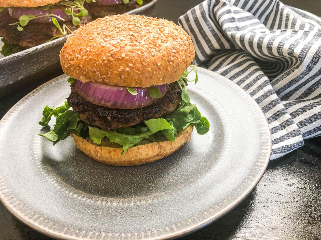 turkey burger on gray plate