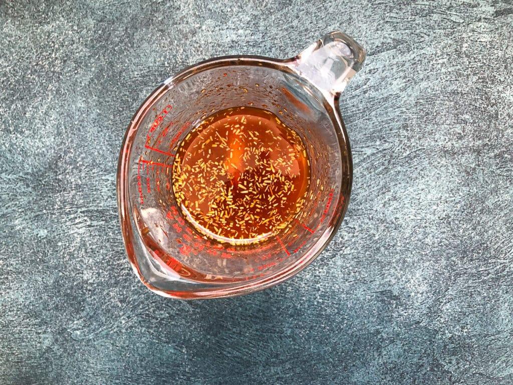 marinade in measuring cup