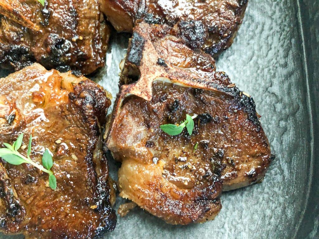 close-up of lamb loin chops